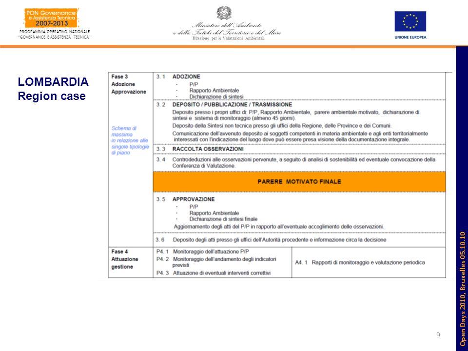 9 PROGRAMMA OPERATIVO NAZIONALE GOVERNANCE E ASSISTENZA TECNICA Direzione per le Valutazioni Ambientali LOMBARDIA Region case Open Days 2010, Bruxelle