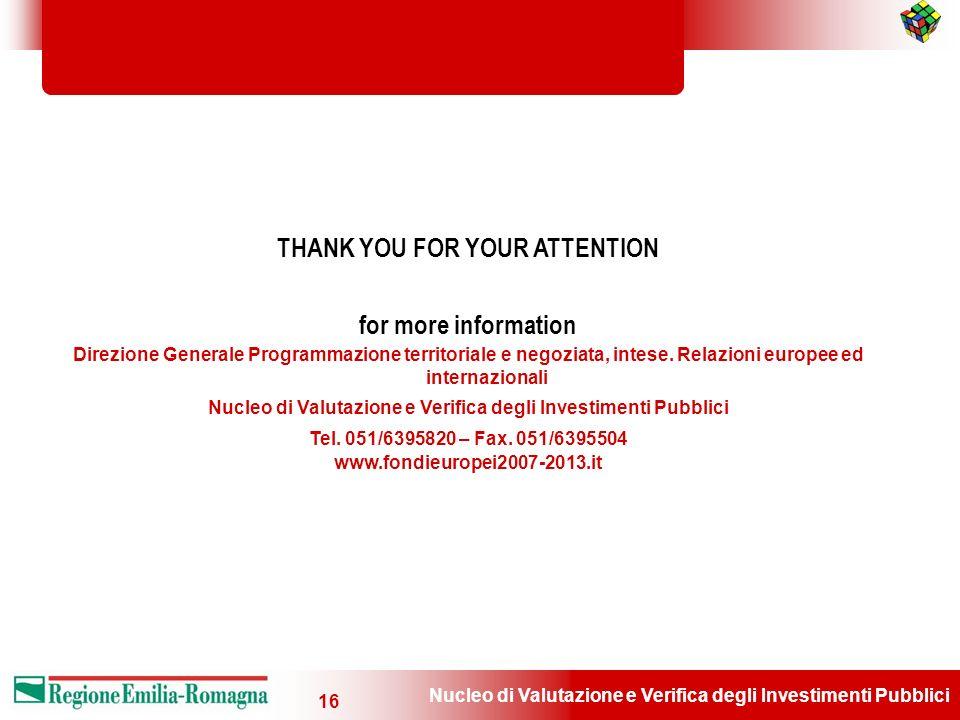 Nucleo di Valutazione e Verifica degli Investimenti Pubblici 16 THANK YOU FOR YOUR ATTENTION for more information Direzione Generale Programmazione te