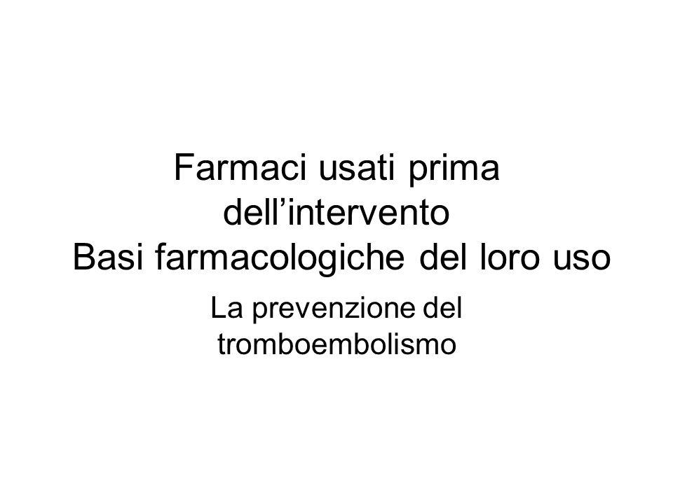 Farmaci usati prima dellintervento Basi farmacologiche del loro uso La prevenzione del tromboembolismo