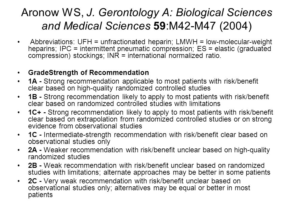 Aronow WS, J. Gerontology A: Biological Sciences and Medical Sciences 59:M42-M47 (2004) Abbreviations: UFH = unfractionated heparin; LMWH = low-molecu