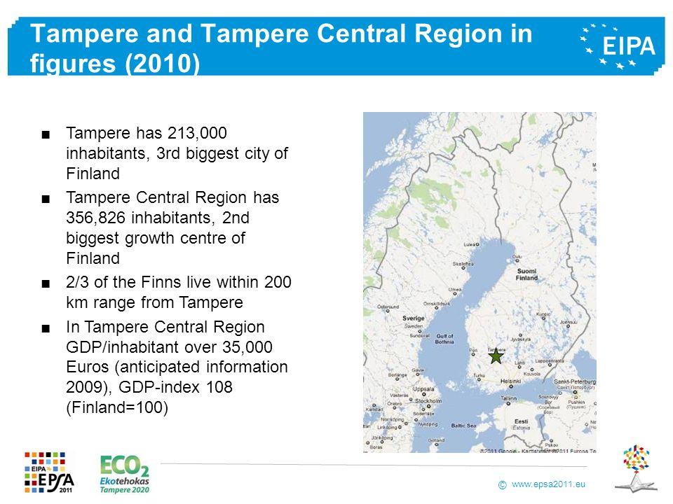 www.epsa2011.eu © Tampere and Tampere Central Region in figures (2010) Tampere has 213,000 inhabitants, 3rd biggest city of Finland Tampere Central Re
