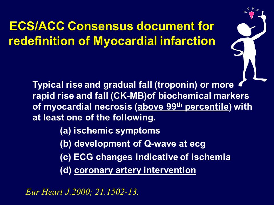 Risk of troponin elevation after PCI a prospective substudy of SYMPHONY Positive TnI (n=230) Negative TnI (n=251) Age, y Female sex (%) Weight (kg) Current smoking (%) Diabetes (%) Family history of CAD (%) hypercholesterolemia (%) hypertension (%) 56 (48, 67) 21 86 (76, 99) 3815675547 59 (50, 66) 28 83 (74, 94) 3820555456 0.090.10.020.90.10.010.80.05 P value TnI >1.5 ng/ml ( Dimension, Dade Behring, Detection limit 0.05 ng/ml) Cantor WJ, submitted