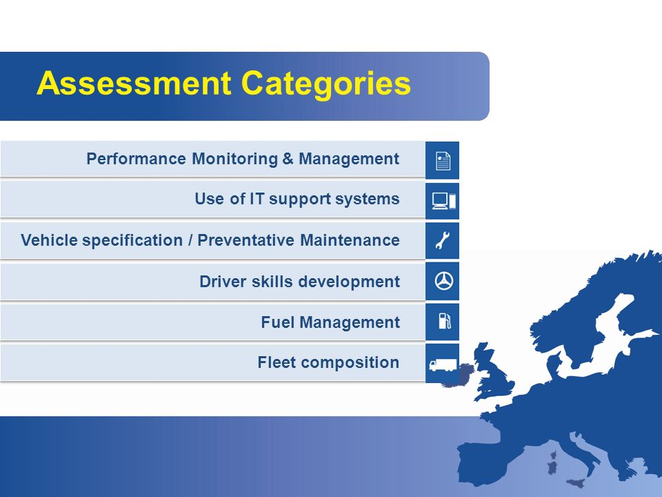 Assessment Categories Performance Monitoring & Management Use of IT support systems Vehicle specification / Preventative Maintenance Driver skills development Fuel Management Fleet composition