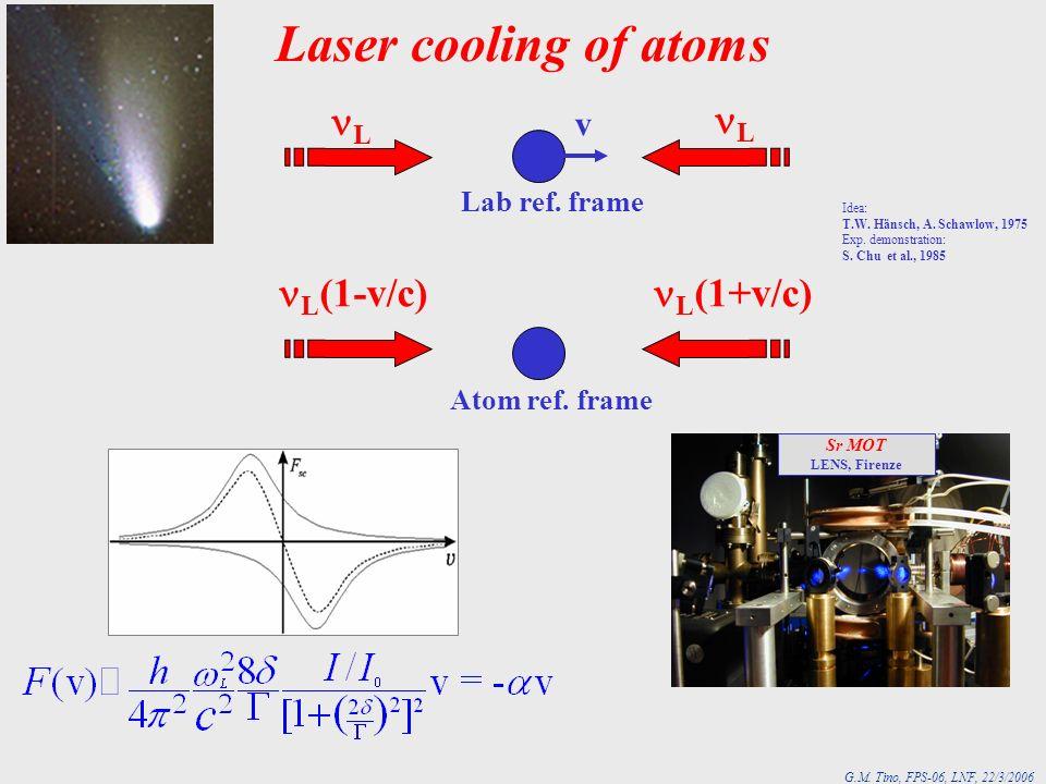 G.M. Tino, FPS-06, LNF, 22/3/2006 Laser cooling of atoms v L L Lab ref. frame Atom ref. frame L (1-v/c) L (1+v/c) Idea: T.W. Hänsch, A. Schawlow, 1975