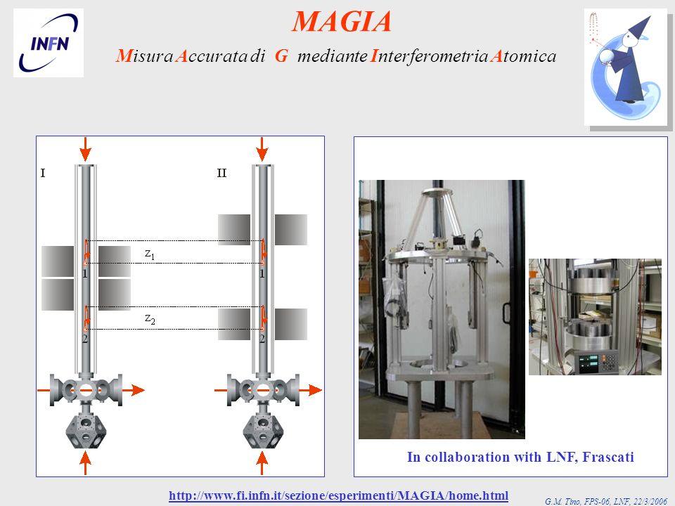 G.M. Tino, FPS-06, LNF, 22/3/2006 In collaboration with LNF, Frascati Misura Accurata di G mediante Interferometria Atomica http://www.fi.infn.it/sezi