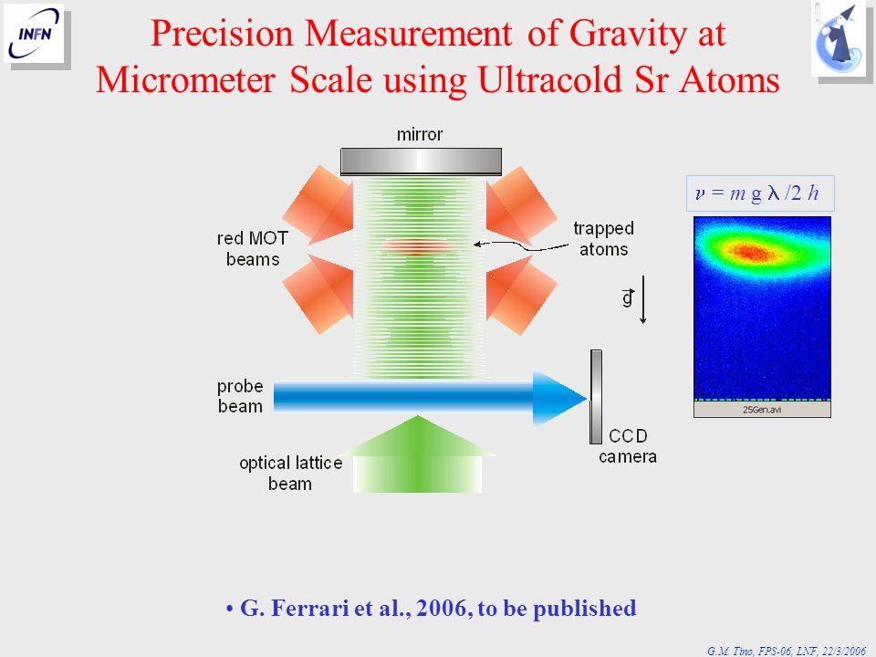G.M. Tino, FPS-06, LNF, 22/3/2006 Precision Measurement of Gravity at Micrometer Scale using Ultracold Sr Atoms = m g /2 h G. Ferrari et al., 2006, to