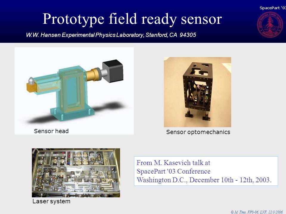 G.M. Tino, FPS-06, LNF, 22/3/2006 Prototype field ready sensor Laser system Sensor optomechanics Sensor head From M. Kasevich talk at SpacePart '03 Co