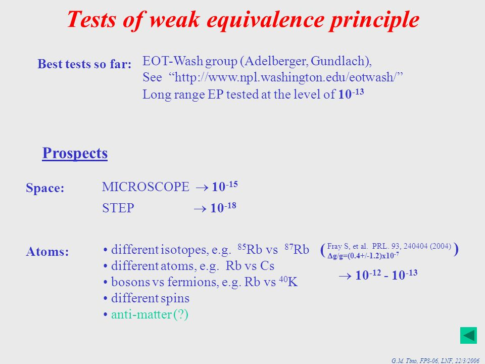 G.M. Tino, FPS-06, LNF, 22/3/2006 Tests of weak equivalence principle Best tests so far: EOT-Wash group (Adelberger, Gundlach), See http://www.npl.was