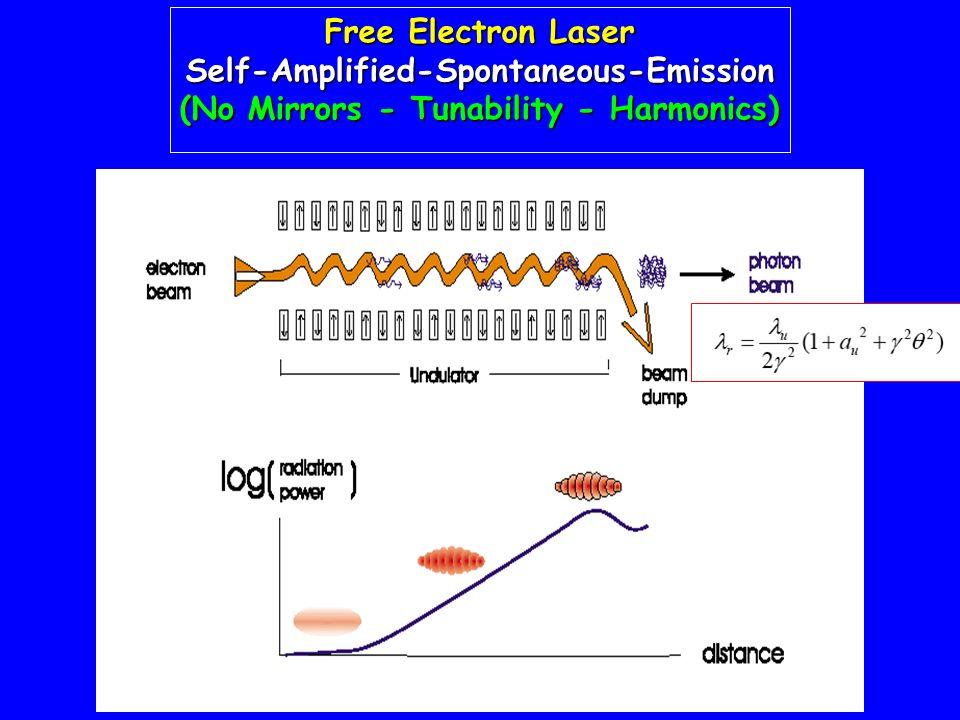Free Electron Laser Self-Amplified-Spontaneous-Emission (No Mirrors - Tunability - Harmonics)