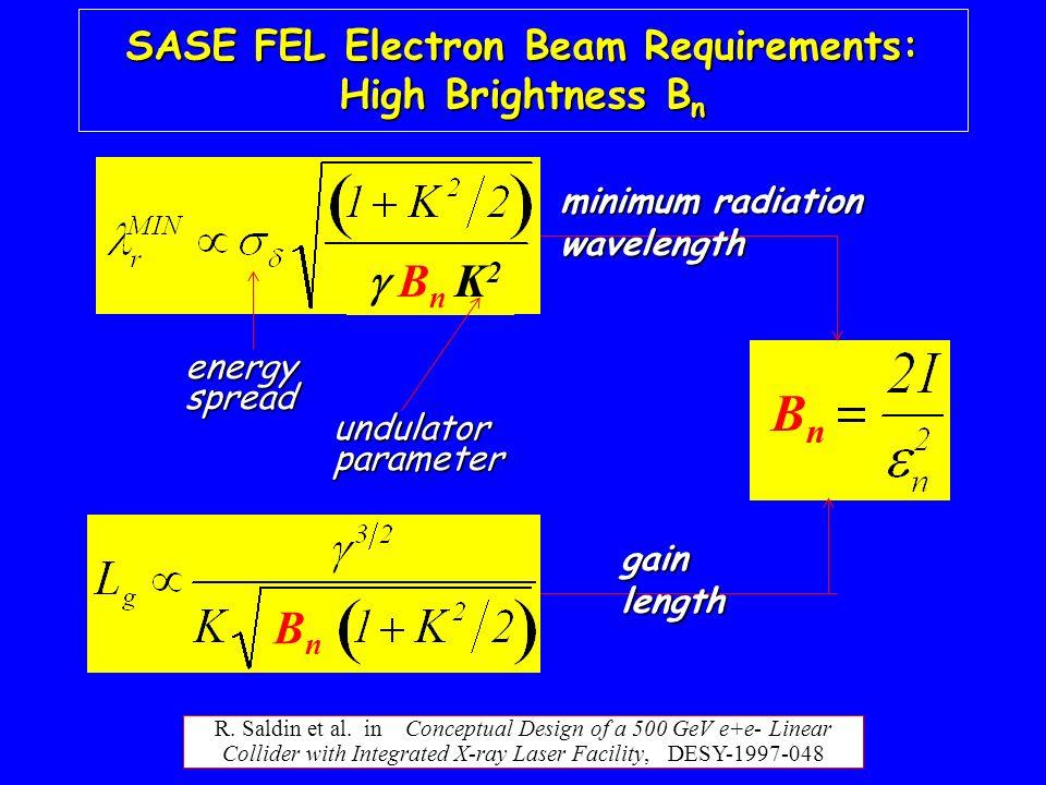 R. Saldin et al. in Conceptual Design of a 500 GeV e+e- Linear Collider with Integrated X-ray Laser Facility, DESY-1997-048 SASE FEL Electron Beam Req
