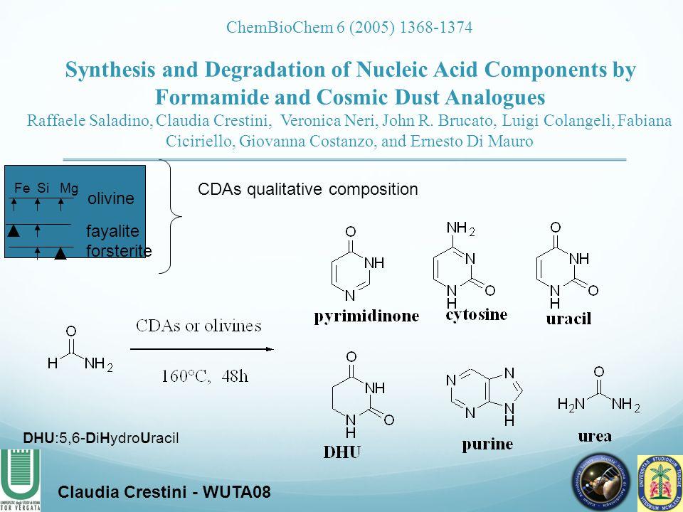 CDAs qualitative composition DHU:5,6-DiHydroUracil Claudia Crestini - WUTA08 ChemBioChem 6 (2005) 1368-1374 Synthesis and Degradation of Nucleic Acid