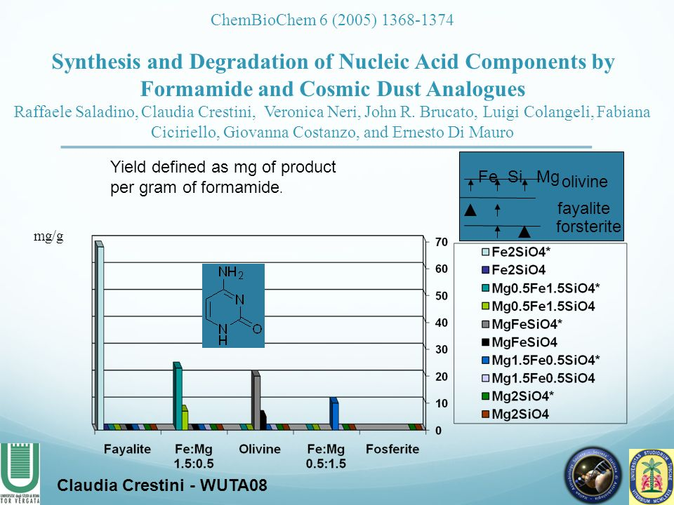 mg/g Yield defined as mg of product per gram of formamide. Claudia Crestini - WUTA08 Fe SiMg fayalite forsterite olivine ChemBioChem 6 (2005) 1368-137