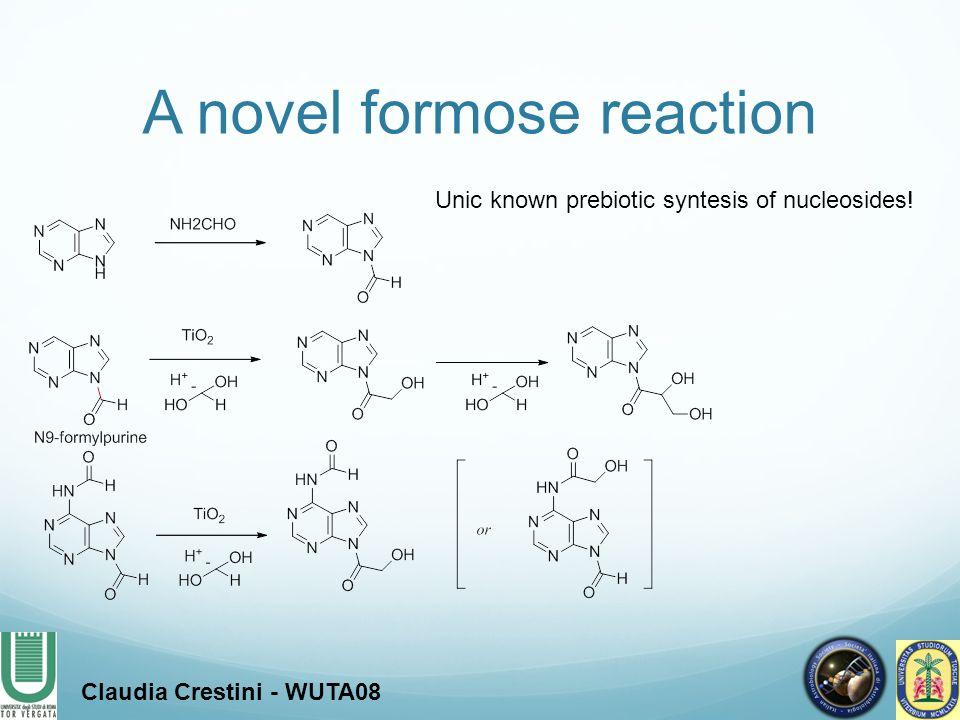 A novel formose reaction Claudia Crestini - WUTA08 Unic known prebiotic syntesis of nucleosides!