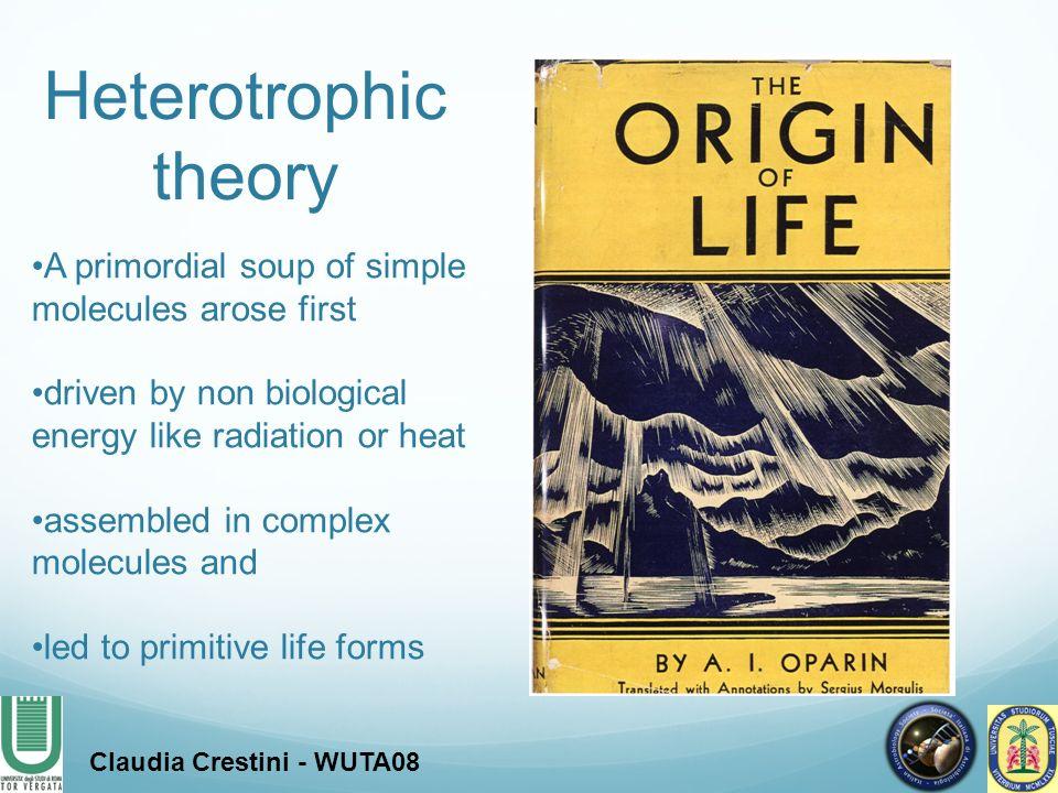 Reducing atmosphere Biomolecules synthesis Prebiotic soup Complex molecules A heterotrophic origin of life.