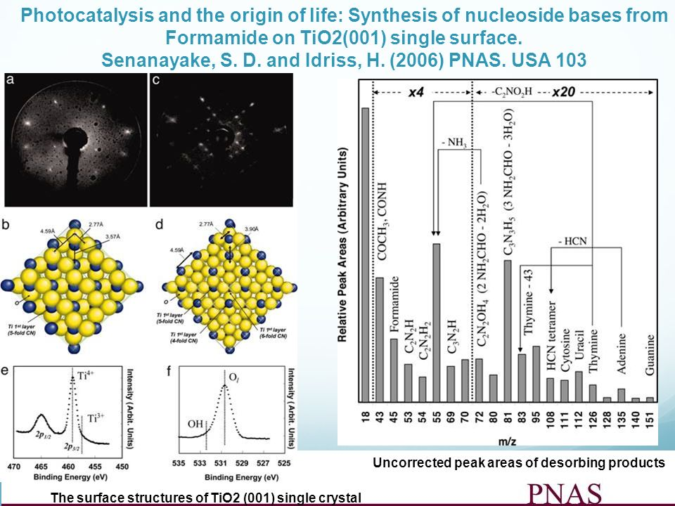 Uncorrected peak areas of desorbing products Photocatalysis and the origin of life: Synthesis of nucleoside bases from Formamide on TiO2(001) single s