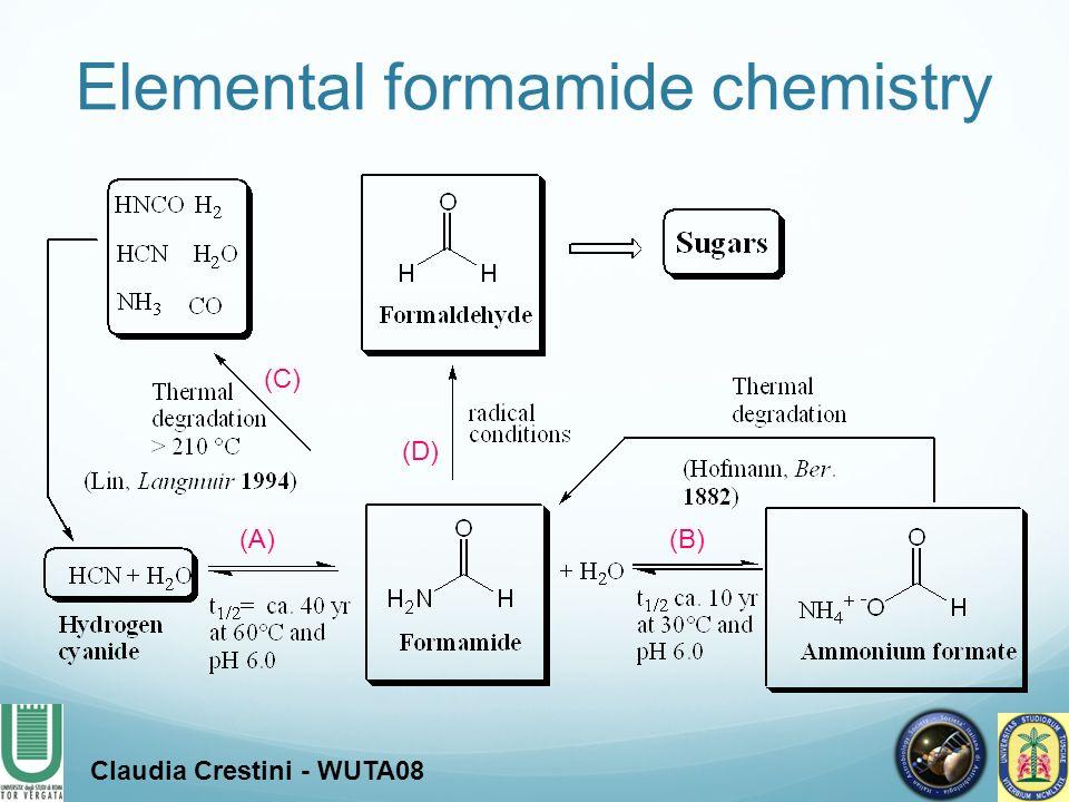(A)(B) (C) (D) Elemental formamide chemistry Claudia Crestini - WUTA08