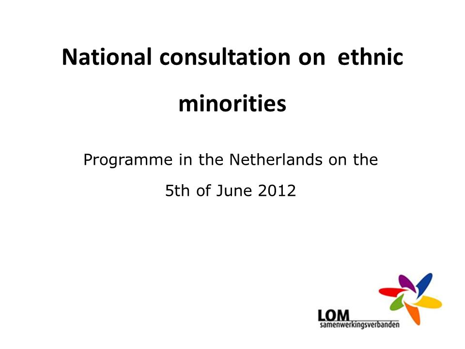 National consultation on ethnic minorities Programme in the Netherlands on the 5th of June 2012