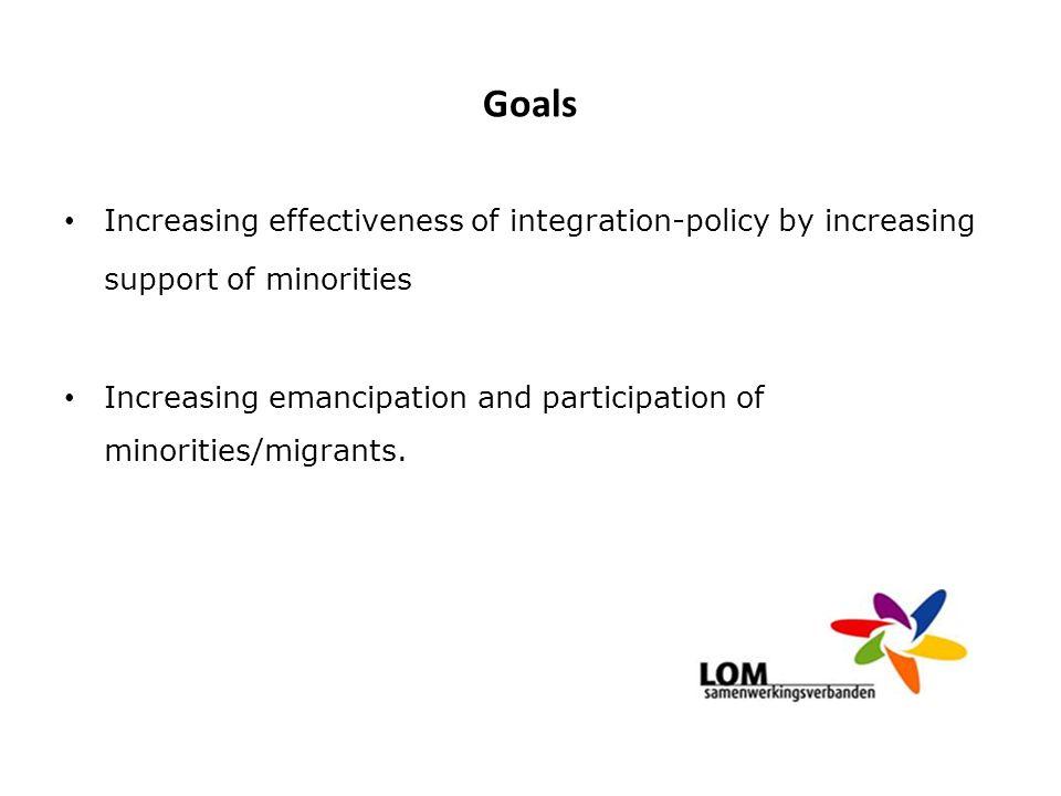 Goals Increasing effectiveness of integration-policy by increasing support of minorities Increasing emancipation and participation of minorities/migra