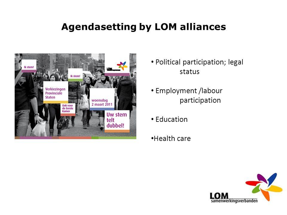 Agendasetting by LOM alliances Political participation; legal status Employment /labour participation Education Health care