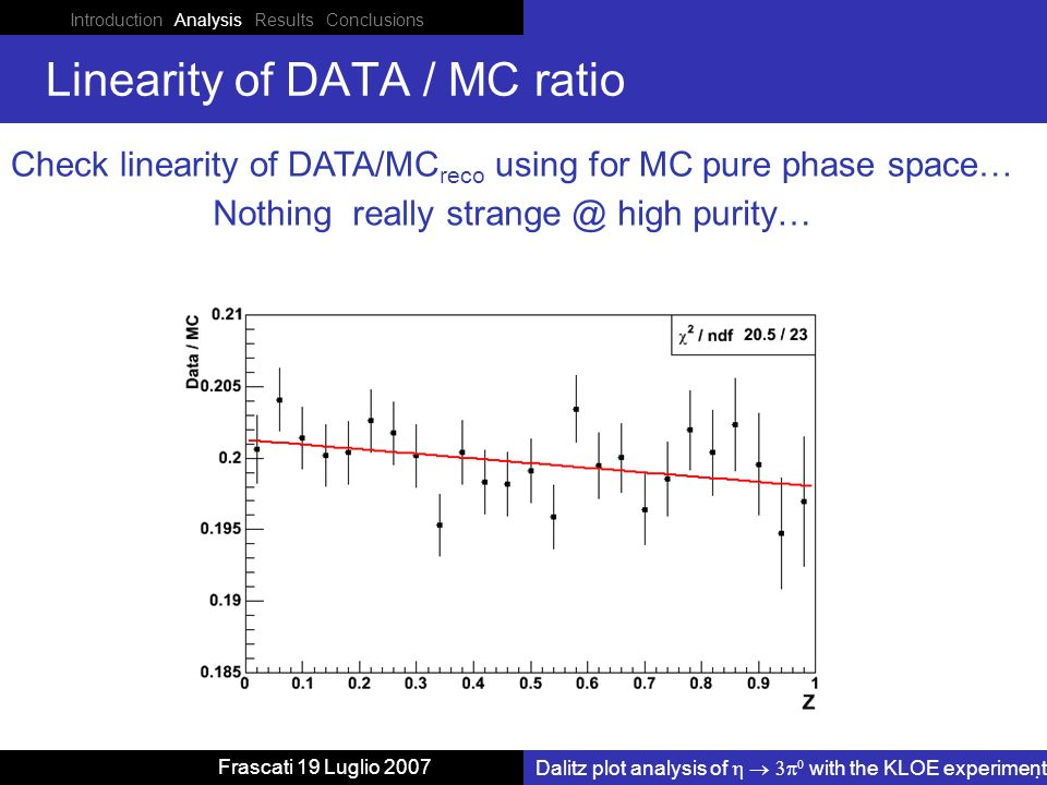 Introduction Analysis Results Conclusions Dalitz plot analysis of with the KLOE experiment Frascati 19 Luglio 2007 Linearity of DATA / MC ratio Check linearity of DATA/MC reco using for MC pure phase space… Nothing really high purity…