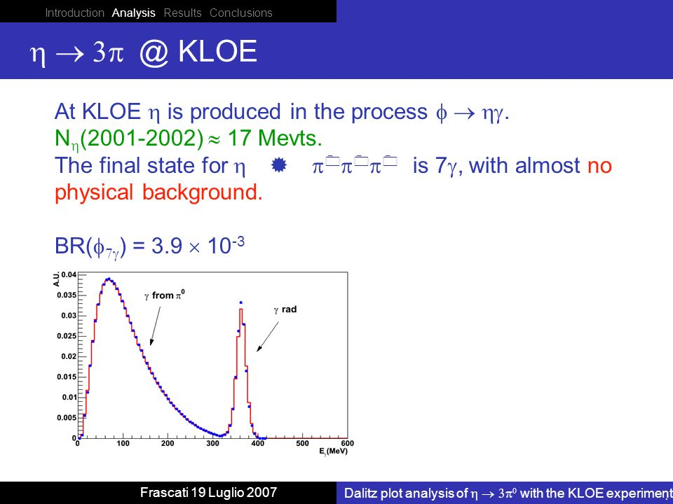 Introduction Analysis Results Conclusions Dalitz plot analysis of with the KLOE experiment Frascati 19 Luglio 2007 @ KLOE At KLOE is produced in the p