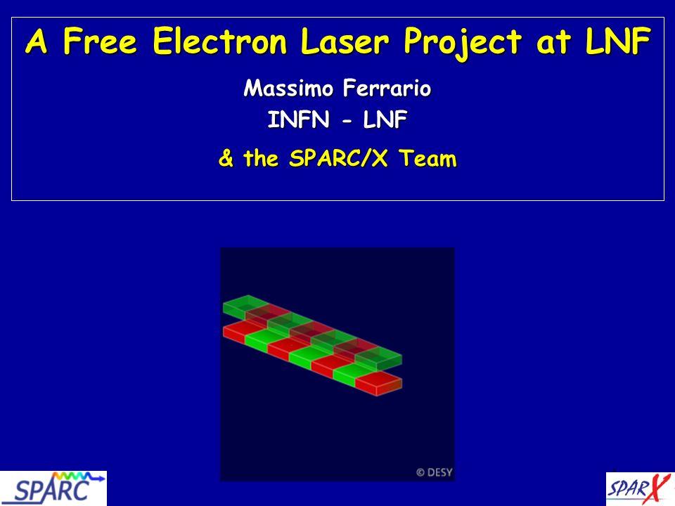 42 Energy [GeV] cr [nm] I = 1 kA K = 3 e = 0.1 % e = 0.1 % n =4 n =4 n =1 n =1 SPARC Injector + DA NE Linac SPARXINO a <10 nm SASE FEL source at LNF