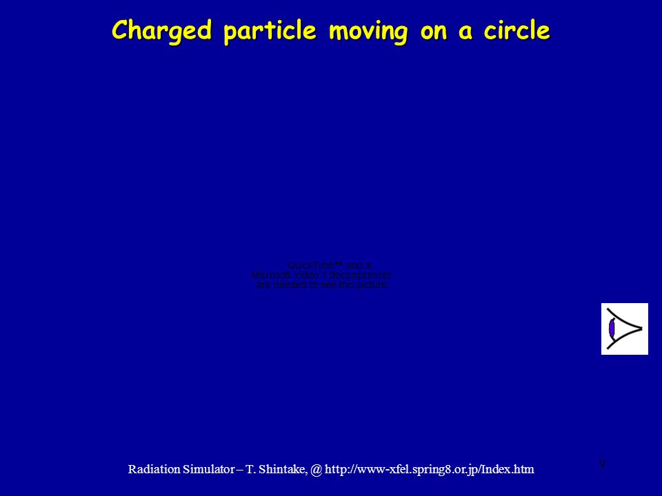 9 Charged particle moving on a circle Radiation Simulator – T. Shintake, @ http://www-xfel.spring8.or.jp/Index.htm