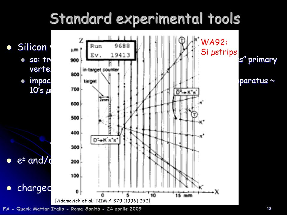 10 Standard experimental tools Silicon vertex detectors: Silicon vertex detectors: so: tracks from heavy flavour weak decays typically miss primary ve