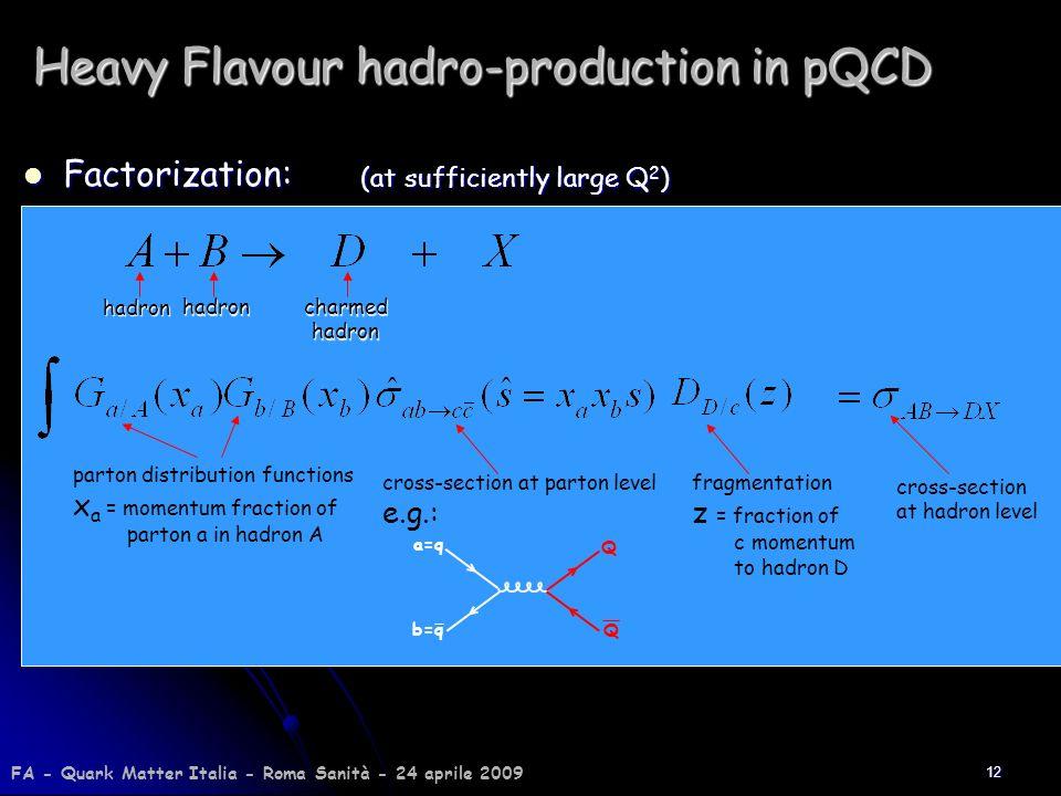 12 Heavy Flavour hadro-production in pQCD Factorization: Factorization: hadron hadroncharmedhadron cross-section at parton level e.g.: parton distribu