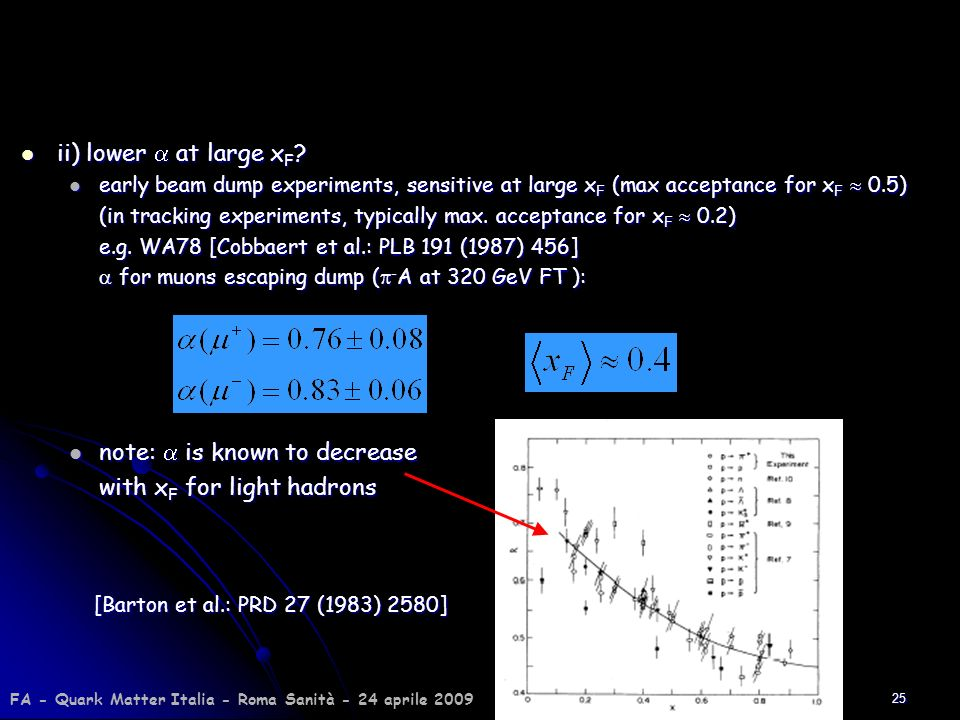 25 ii) lower at large x F ? ii) lower at large x F ? early beam dump experiments, sensitive at large x F (max acceptance for x F 0.5) early beam dump