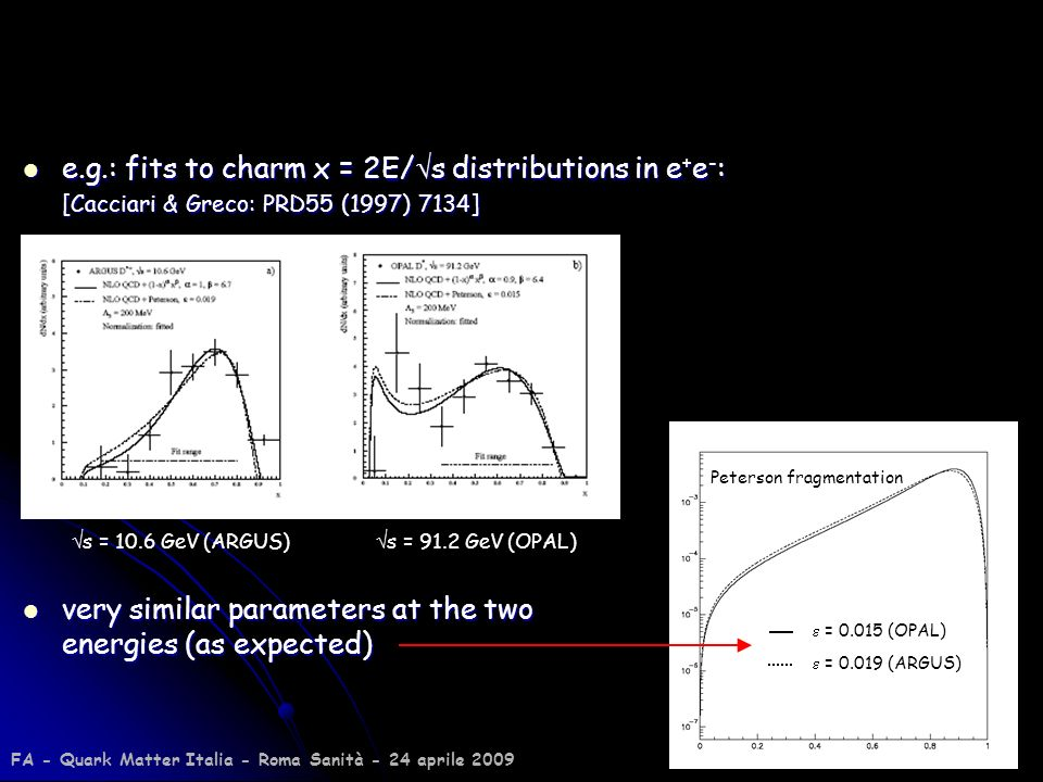 30 e.g.: fits to charm x = 2E/ s distributions in e + e - : e.g.: fits to charm x = 2E/ s distributions in e + e - : [Cacciari & Greco: PRD55 (1997) 7