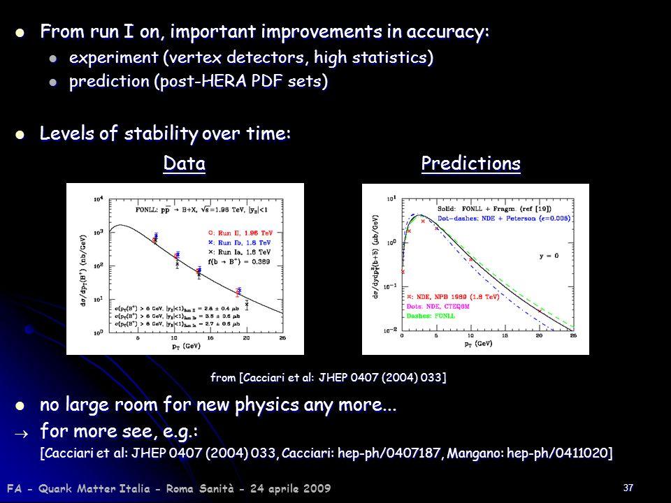 37 From run I on, important improvements in accuracy: From run I on, important improvements in accuracy: experiment (vertex detectors, high statistics
