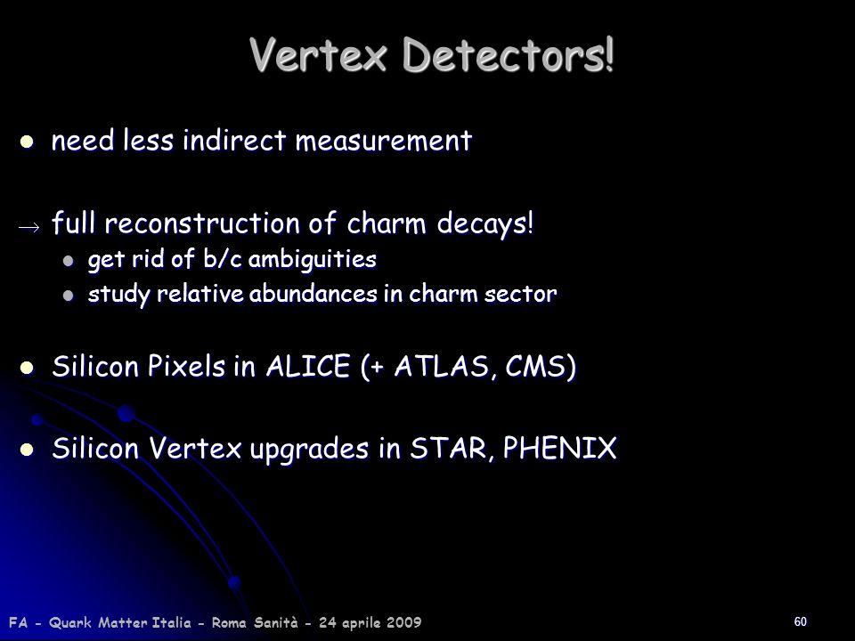 60 Vertex Detectors! need less indirect measurement need less indirect measurement full reconstruction of charm decays! full reconstruction of charm d