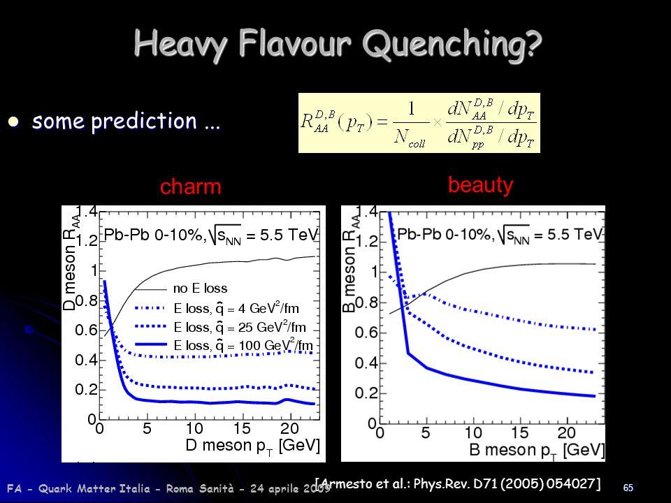 65 Heavy Flavour Quenching? some prediction... some prediction... [Armesto et al.: Phys.Rev. D71 (2005) 054027] charm beauty FA - Quark Matter Italia
