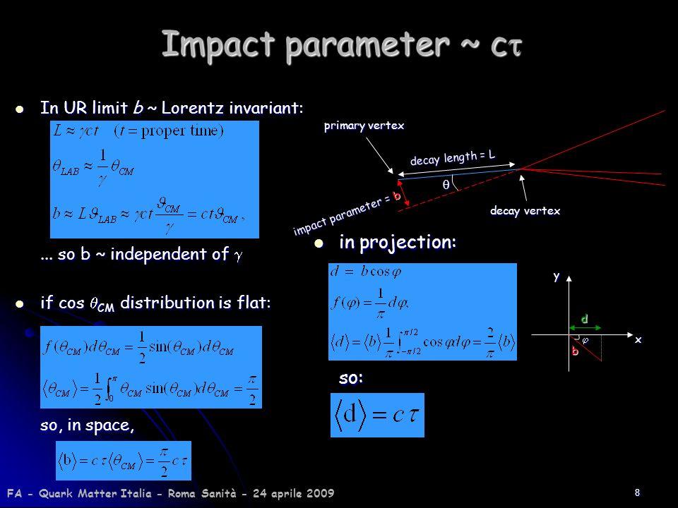 8 Impact parameter ~ c Impact parameter ~ c In UR limit b ~ Lorentz invariant: In UR limit b ~ Lorentz invariant:... so b ~ independent of... so b ~ i