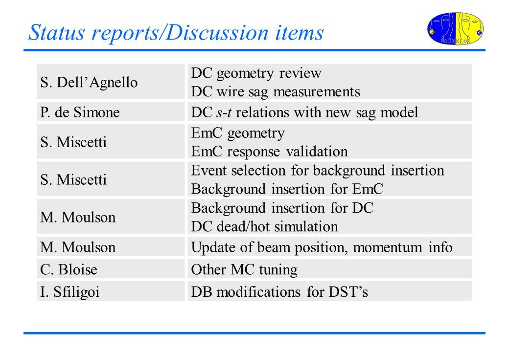 Status reports/Discussion items S. DellAgnello DC geometry review DC wire sag measurements P.