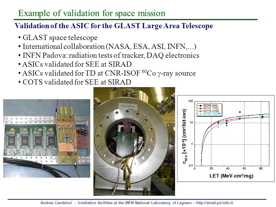 Andrea Candelori - Irradiation facilities at the INFN National Laboratory of Legnaro – http://sirad.pd.infn.it Validation of the ASIC for the GLAST La