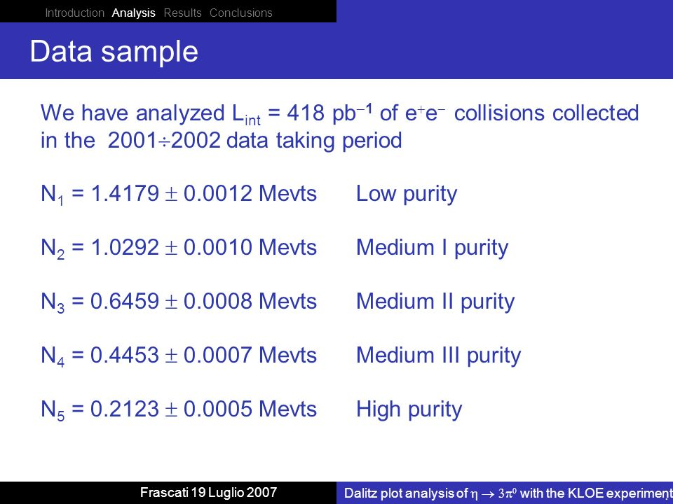 Introduction Analysis Results Conclusions Dalitz plot analysis of with the KLOE experiment Frascati 19 Luglio 2007 Data sample We have analyzed L int = 418 pb 1 of e e collisions collected in the 2001 2002 data taking period N 1 = 1.4179 0.0012 Mevts Low purity N 2 = 1.0292 0.0010 Mevts Medium I purity N 3 = 0.6459 0.0008 Mevts Medium II purity N 4 = 0.4453 0.0007 Mevts Medium III purity N 5 = 0.2123 0.0005 Mevts High purity