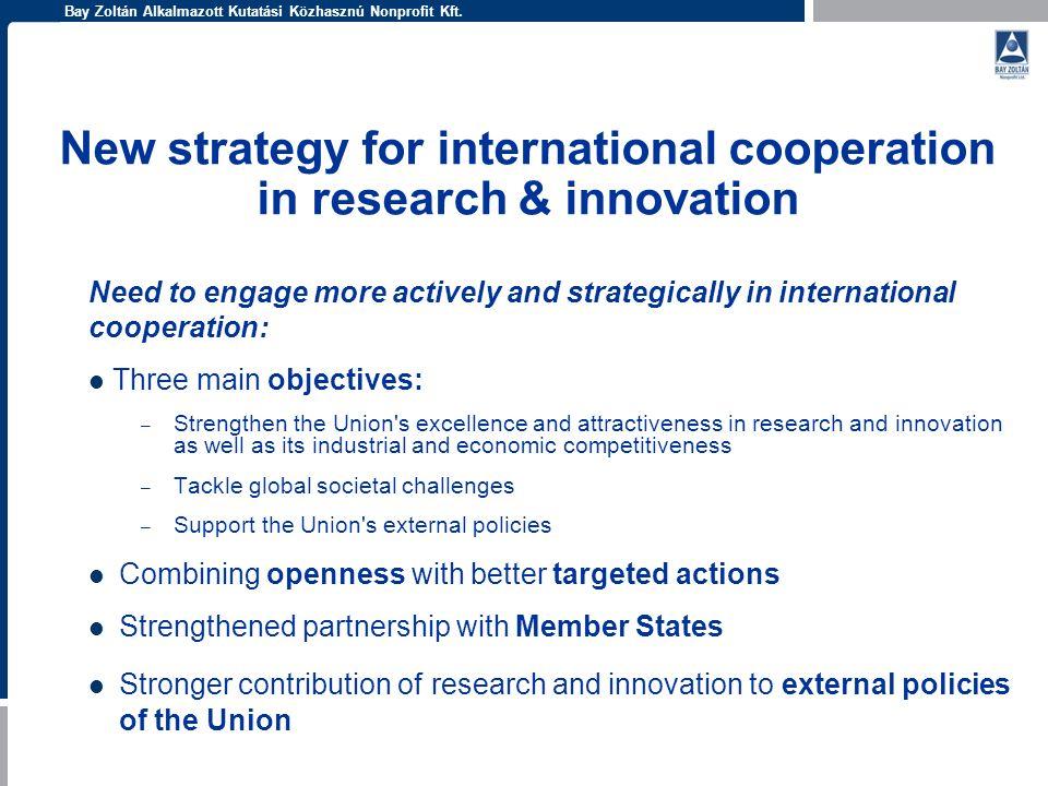 Bay Zoltán Alkalmazott Kutatási Közhasznú Nonprofit Kft. New strategy for international cooperation in research & innovation Need to engage more activ