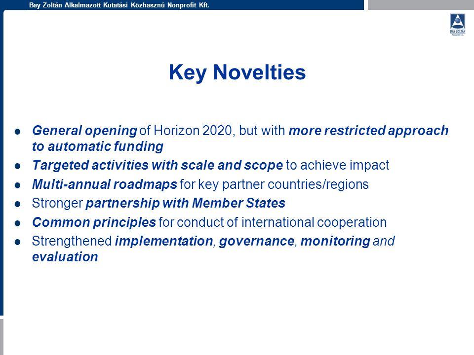Bay Zoltán Alkalmazott Kutatási Közhasznú Nonprofit Kft. Key Novelties General opening of Horizon 2020, but with more restricted approach to automatic