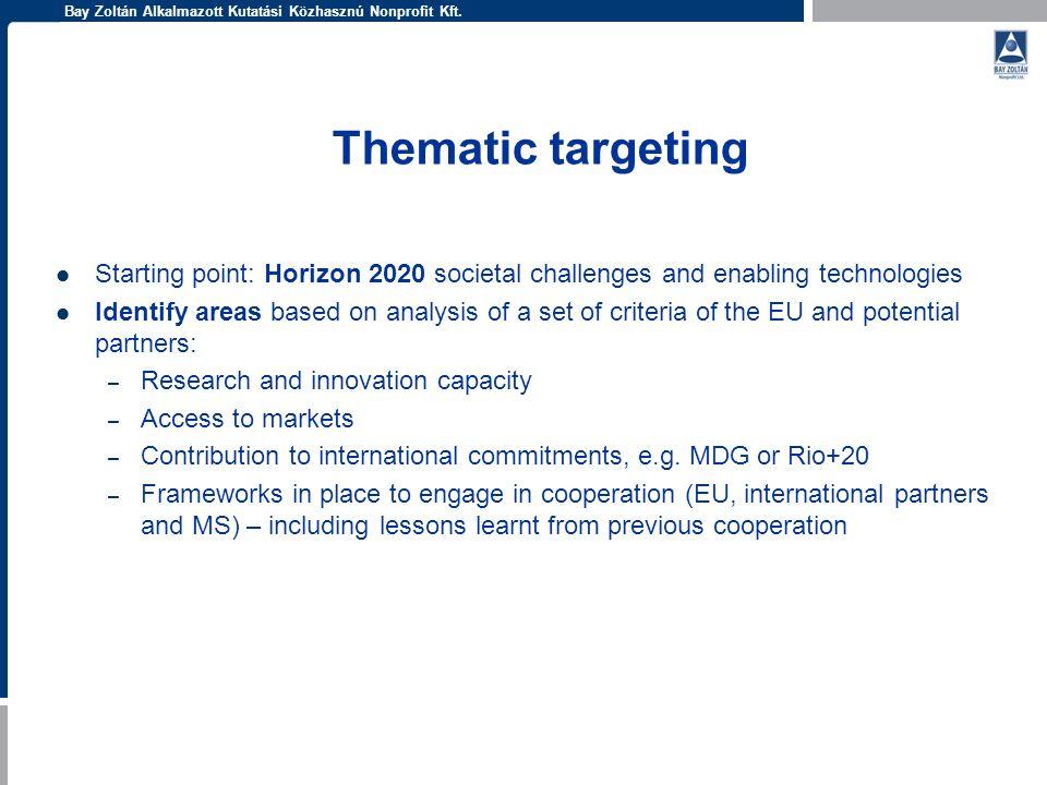 Bay Zoltán Alkalmazott Kutatási Közhasznú Nonprofit Kft. Thematic targeting Starting point: Horizon 2020 societal challenges and enabling technologies