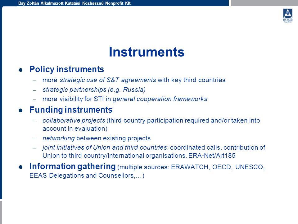Bay Zoltán Alkalmazott Kutatási Közhasznú Nonprofit Kft. Instruments Policy instruments – more strategic use of S&T agreements with key third countrie
