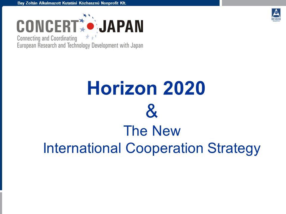 Bay Zoltán Alkalmazott Kutatási Közhasznú Nonprofit Kft. Horizon 2020 & The New International Cooperation Strategy