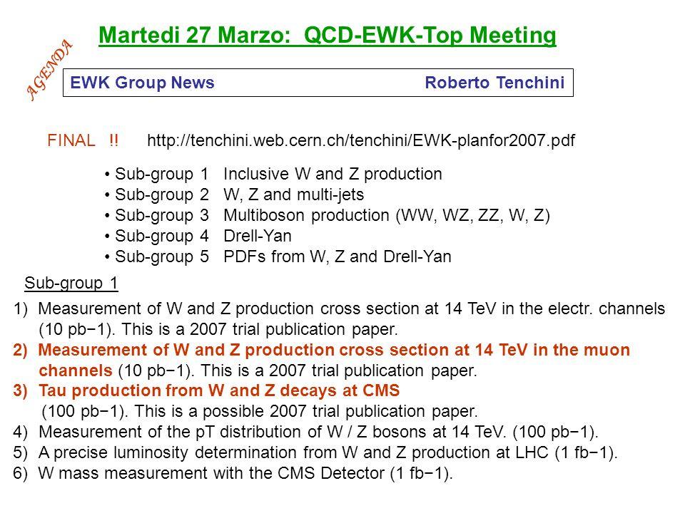 Martedi 27 Marzo: QCD-EWK-Top Meeting FINAL !.