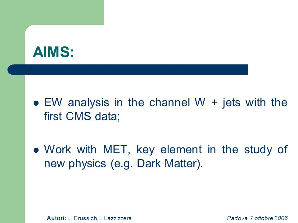 Padova, 7 ottobre 2008Autori: L. Brussich, I. Lazzizzera AIMS: EW analysis in the channel W + jets with the first CMS data; Work with MET, key element