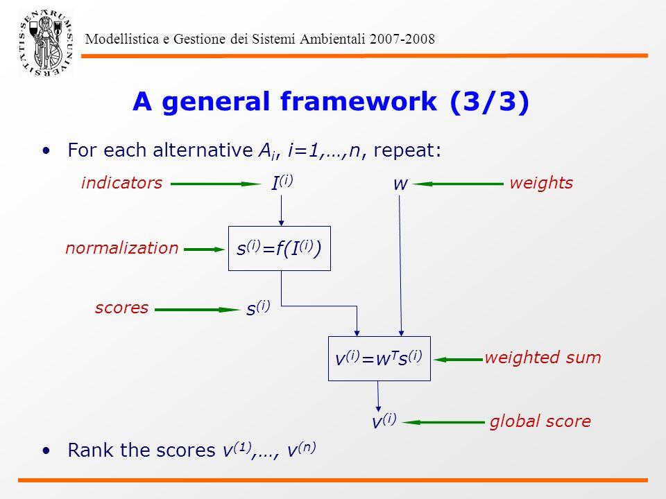 Modellistica e Gestione dei Sistemi Ambientali 2007-2008 A general framework (3/3) For each alternative A i, i=1,…,n, repeat: Rank the scores v (1),…, v (n) indicators normalization I (i) s (i) =f(I (i) ) v (i) =w T s (i) v (i) w s (i) scores weights weighted sum global score