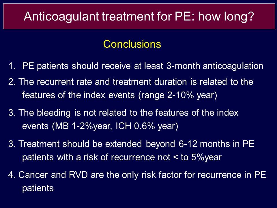 1.PE patients should receive at least 3-month anticoagulation 2.