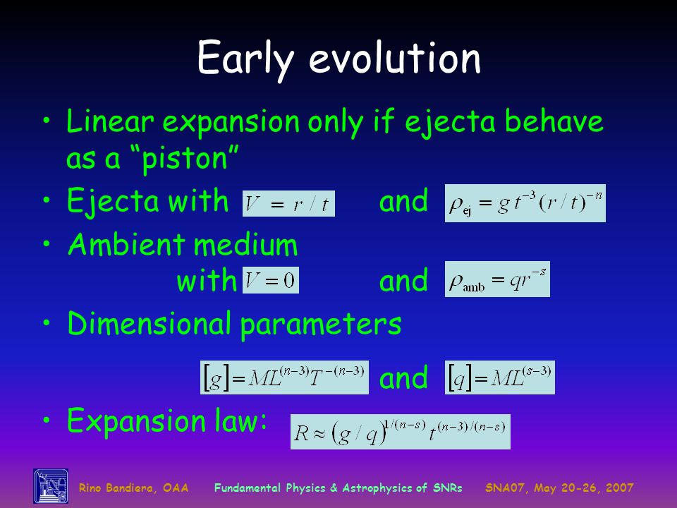 Rino Bandiera, OAAFundamental Physics & Astrophysics of SNRsSNA07, May 20-26, 2007 Early evolution Linear expansion only if ejecta behave as a piston
