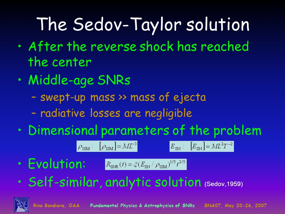 Rino Bandiera, OAAFundamental Physics & Astrophysics of SNRsSNA07, May 20-26, 2007 The Sedov-Taylor solution After the reverse shock has reached the c