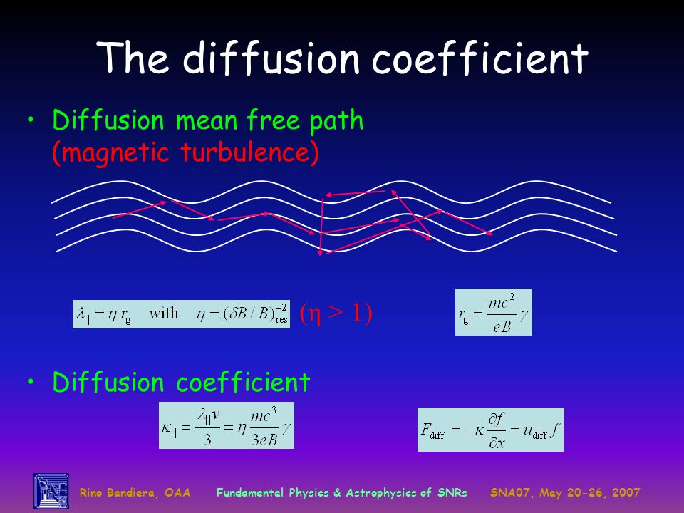 Rino Bandiera, OAAFundamental Physics & Astrophysics of SNRsSNA07, May 20-26, 2007 The diffusion coefficient Diffusion mean free path (magnetic turbulence) (η > 1) Diffusion coefficient
